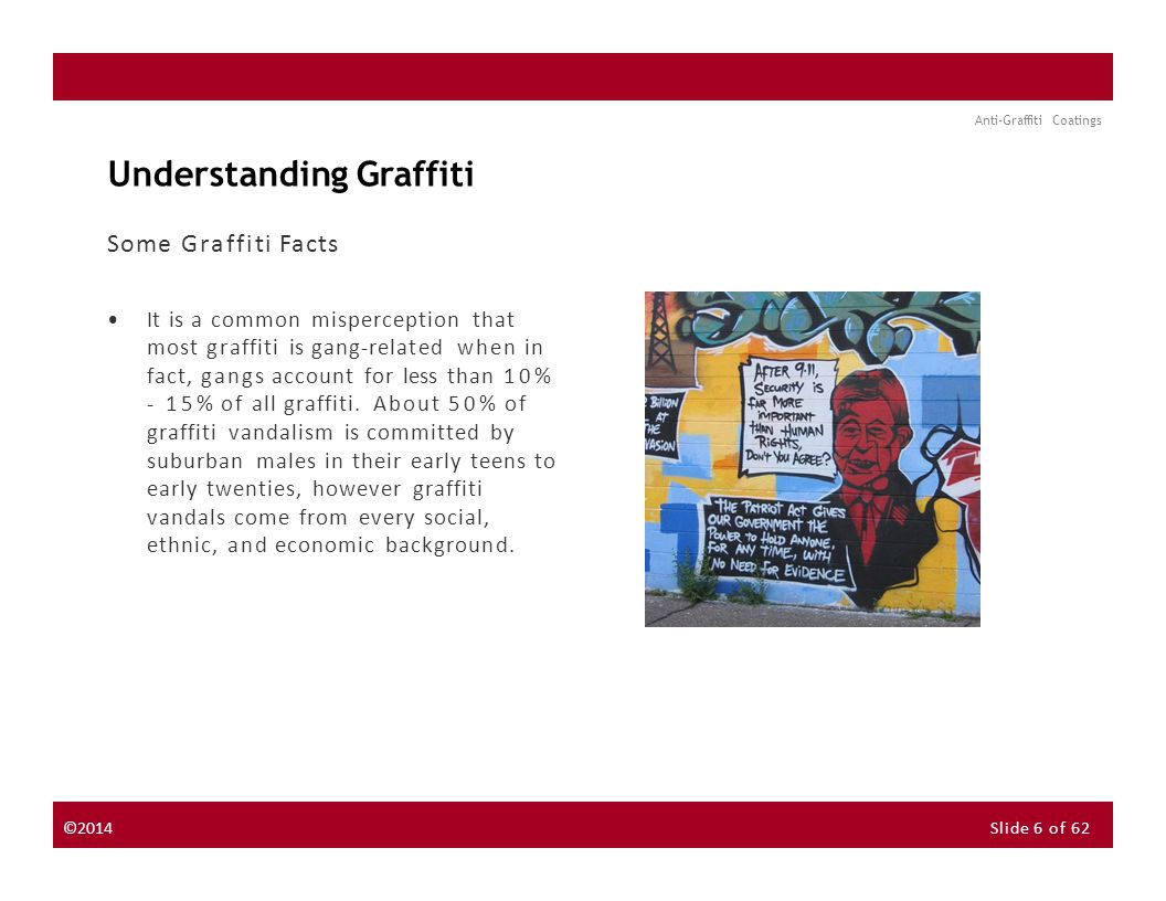 About the Instructor About the Sponsor Seminar Discussion Forum Anti-Graffiti Coatings Understanding Graffiti Some Graffiti Facts It is a common misperception that most graffiti is gang-related when in fact, gangs account for less than 10% - 15% of all graffiti.