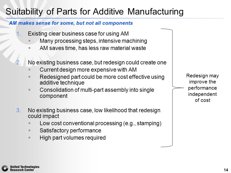 Suitability of Parts for Additive Manufacturing 1.Existing clear business case for using AM  Many processing steps, intensive machining  AM saves ti