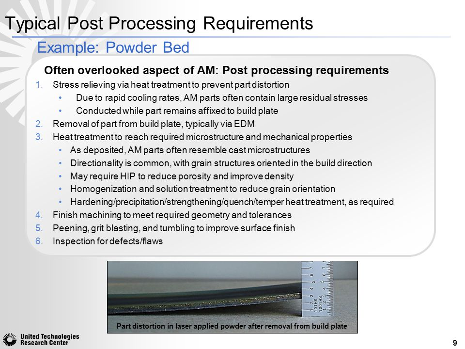 Often overlooked aspect of AM: Post processing requirements 1.Stress relieving via heat treatment to prevent part distortion Due to rapid cooling rate