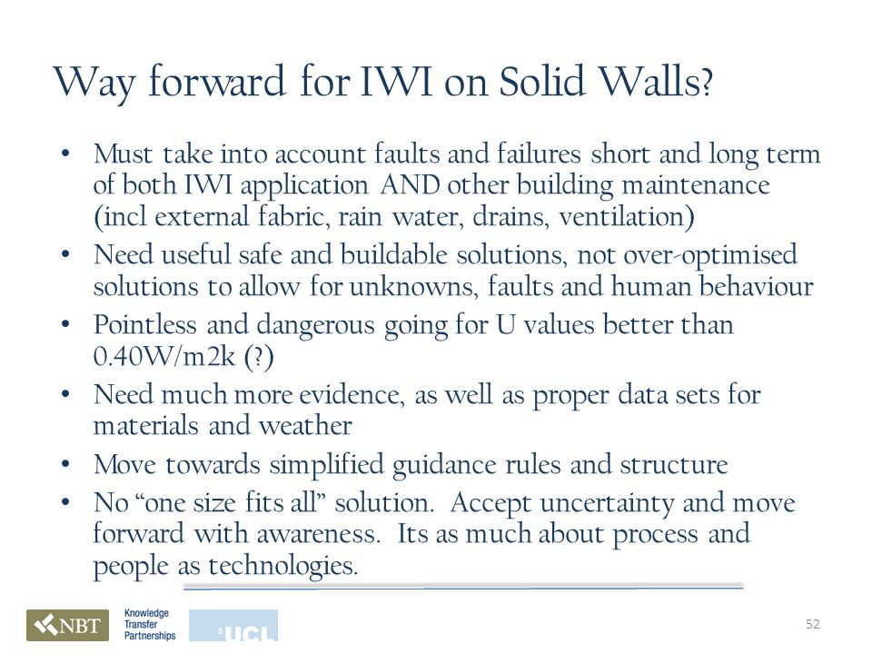 Way forward for IWI on Solid Walls.