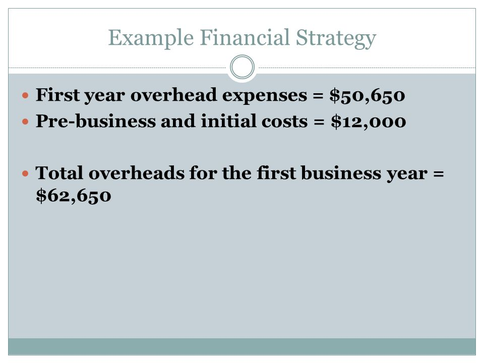 Example Financial Strategy First year overhead expenses = $50,650 Pre-business and initial costs = $12,000 Total overheads for the first business year