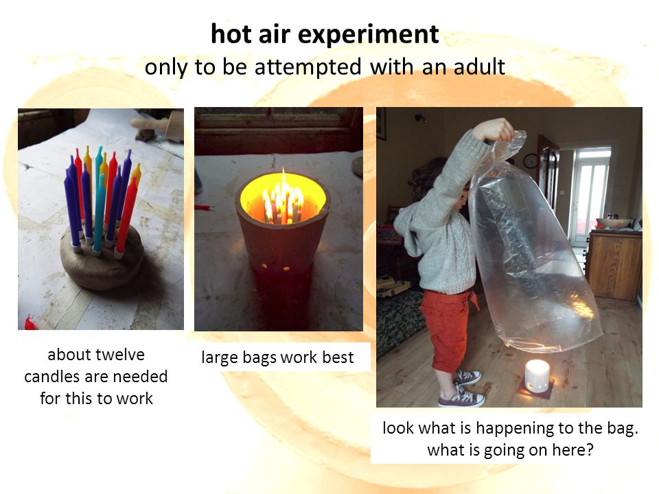hot air experiment only to be attempted with an adult about twelve candles are needed for this to work look what is happening to the bag.