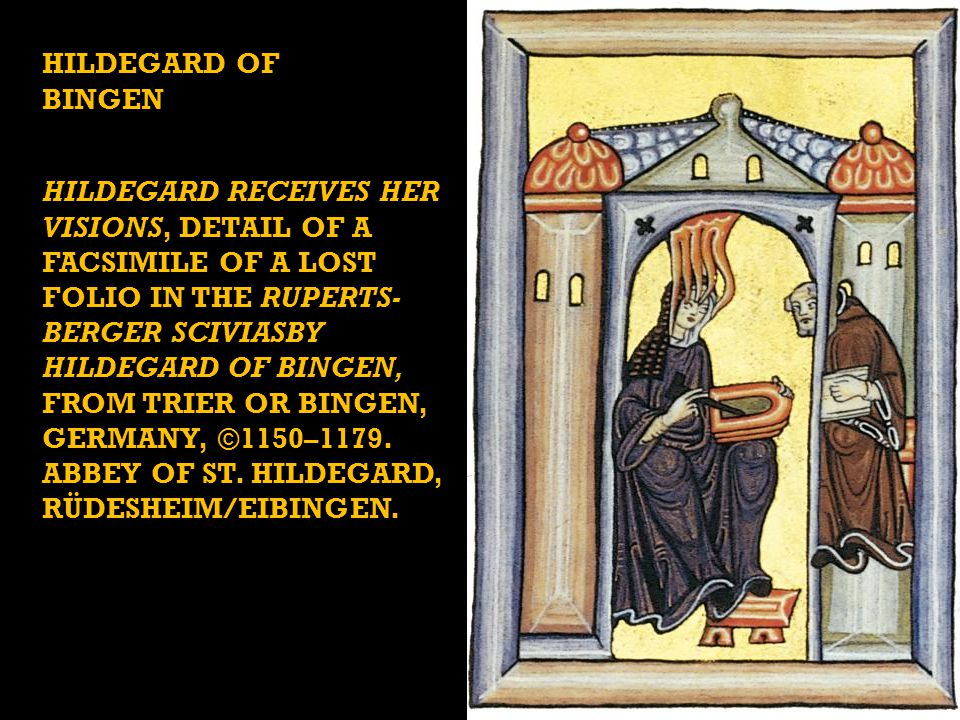 HILDEGARD RECEIVES HER VISIONS, DETAIL OF A FACSIMILE OF A LOST FOLIO IN THE RUPERTS- BERGER SCIVIASBY HILDEGARD OF BINGEN, FROM TRIER OR BINGEN, GERMANY, ©1150–1179.