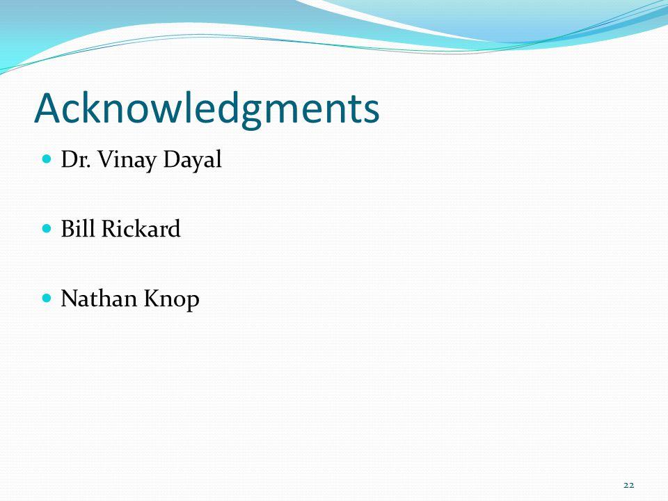 Acknowledgments Dr. Vinay Dayal Bill Rickard Nathan Knop 22