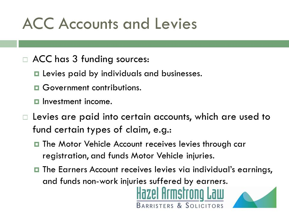 ACC Accounts and Levies  ACC has 3 funding sources:  Levies paid by individuals and businesses.