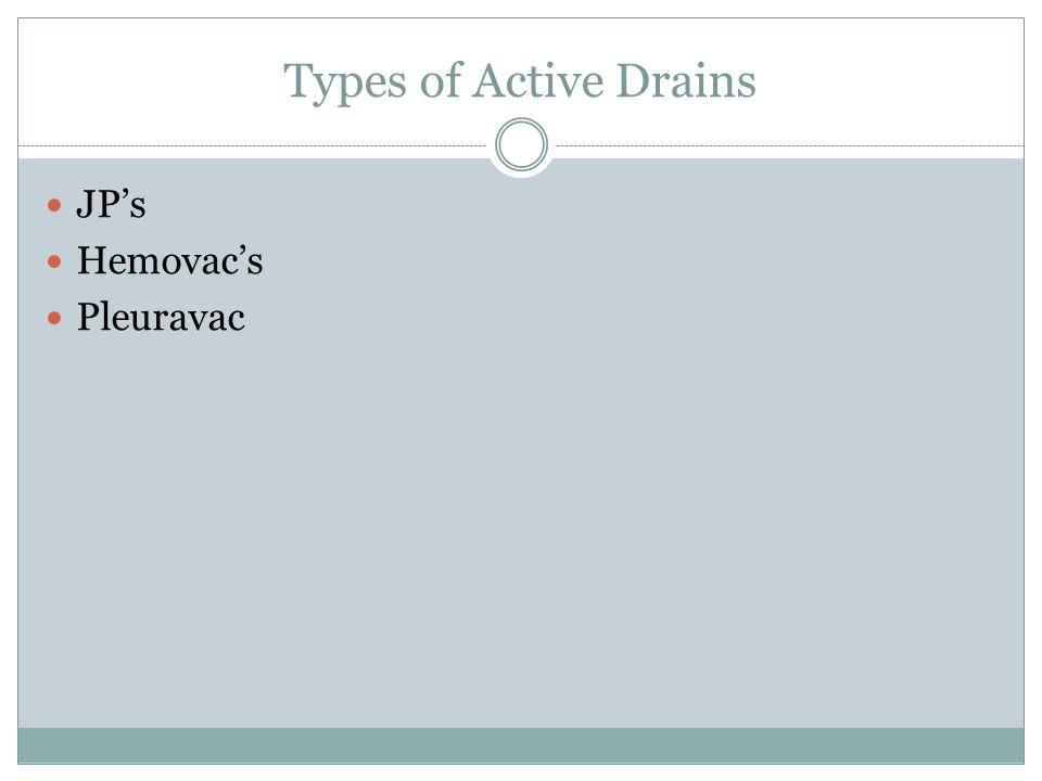 Types of Active Drains JP's Hemovac's Pleuravac