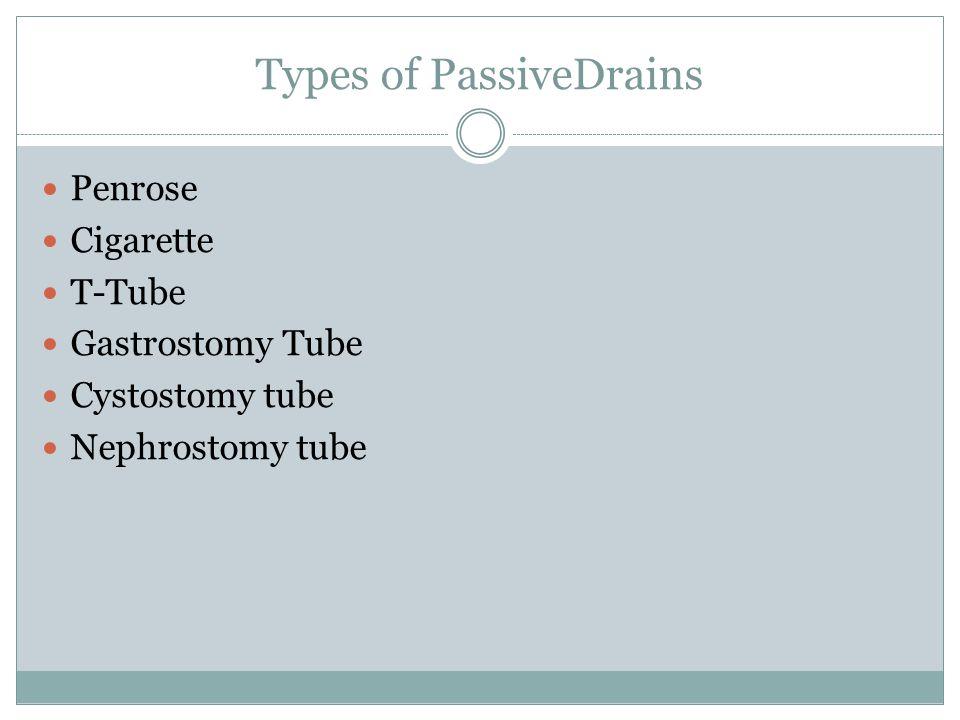 Types of PassiveDrains Penrose Cigarette T-Tube Gastrostomy Tube Cystostomy tube Nephrostomy tube