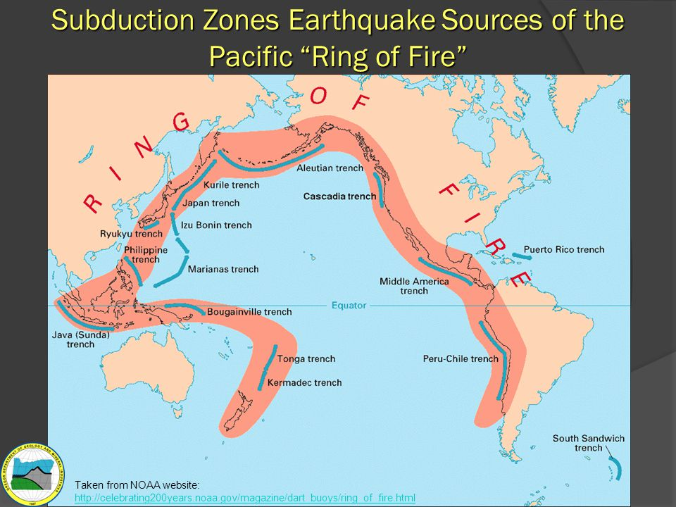 "Subduction Zones Earthquake Sources of the Pacific ""Ring of Fire"" Taken from NOAA website: http://celebrating200years.noaa.gov/magazine/dart_buoys/rin"
