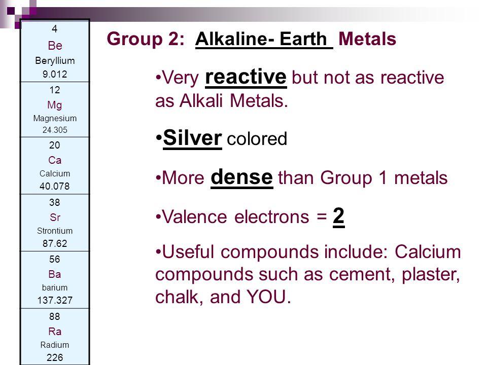 4 Be Beryllium 9.012 12 Mg Magnesium 24.305 20 Ca Calcium 40.078 38 Sr Strontium 87.62 56 Ba barium 137.327 88 Ra Radium 226 Group 2: Alkaline- Earth Metals Very reactive but not as reactive as Alkali Metals.