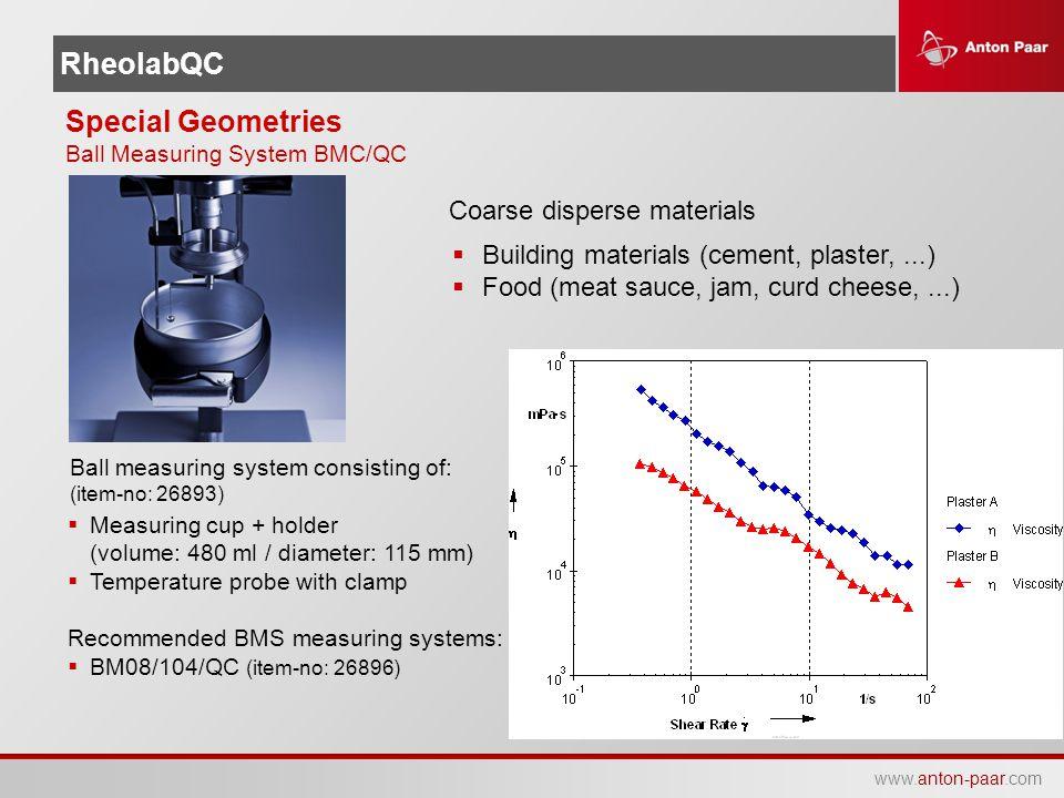 www.anton-paar.com RheolabQC Special Geometries Ball Measuring System BMC/QC  Measuring cup + holder (volume: 480 ml / diameter: 115 mm)  Temperatur