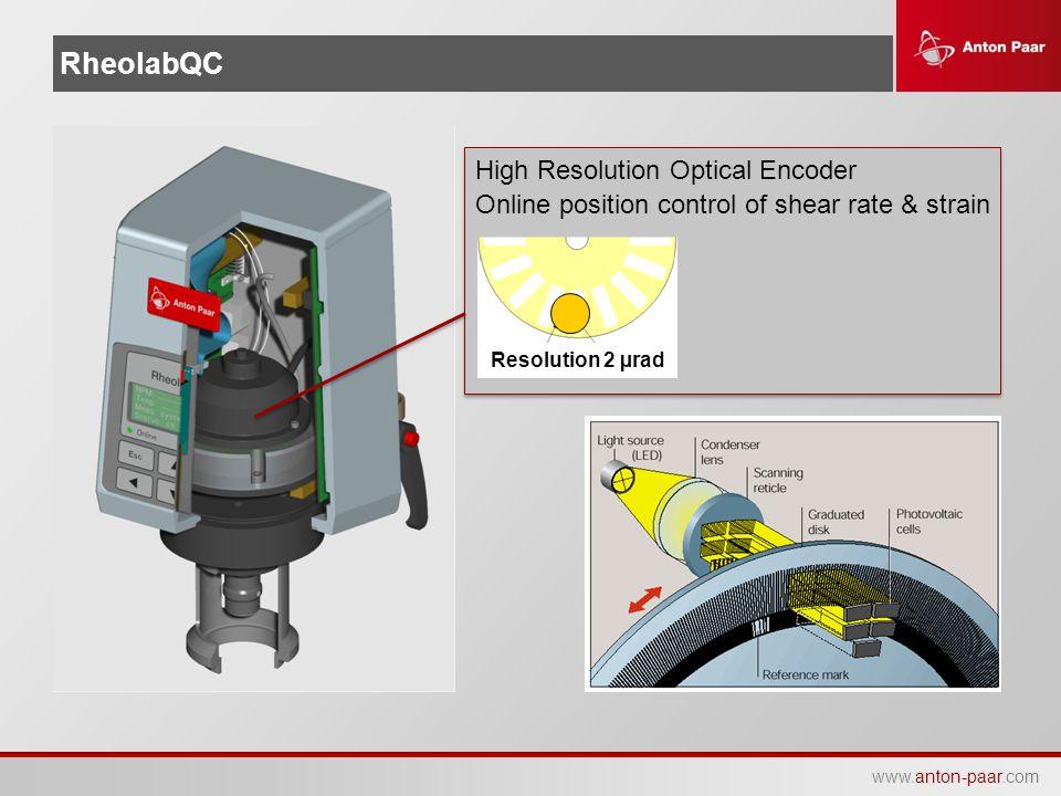 www.anton-paar.com RheolabQC High Resolution Optical Encoder Online position control of shear rate & strain Resolution 2 µrad