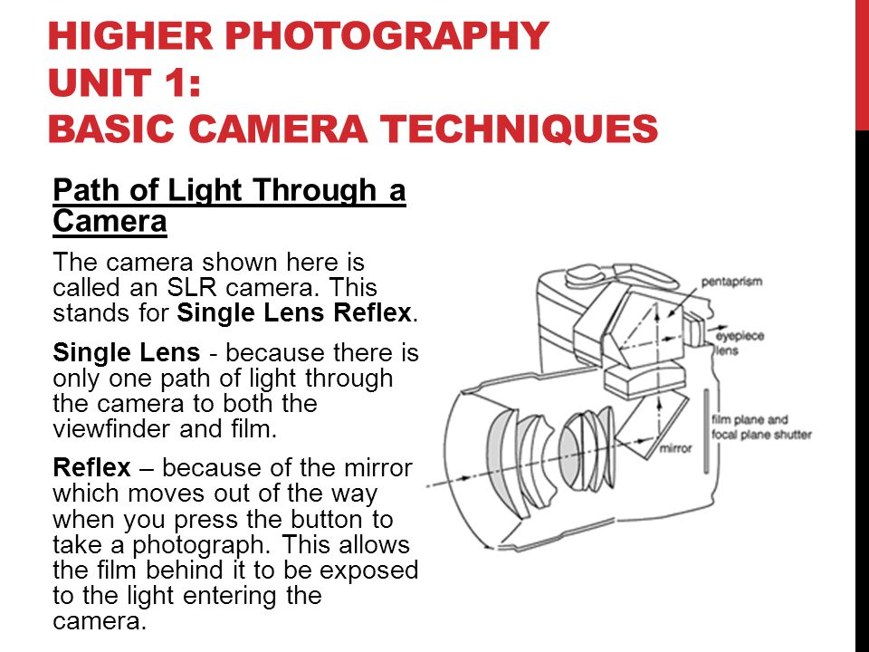 HIGHER PHOTOGRAPHY UNIT 1: BASIC CAMERA TECHNIQUES Path of Light Through a Camera The camera shown here is called an SLR camera. This stands for Singl