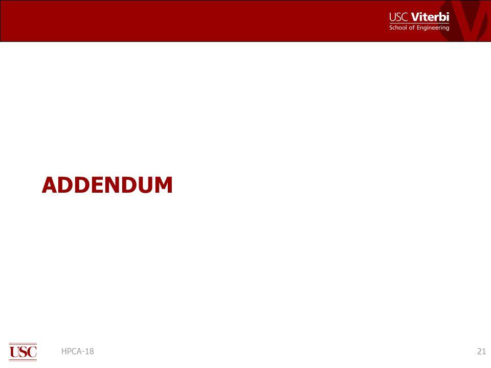 ADDENDUM HPCA-1821