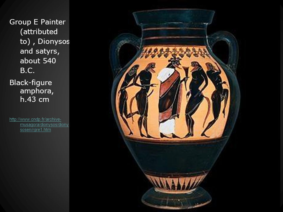 Group E Painter (attributed to), Dionysos and satyrs, about 540 B.C.