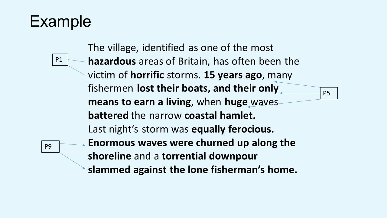 Example The village, identified as one of the most hazardous areas of Britain, has often been the victim of horrific storms.