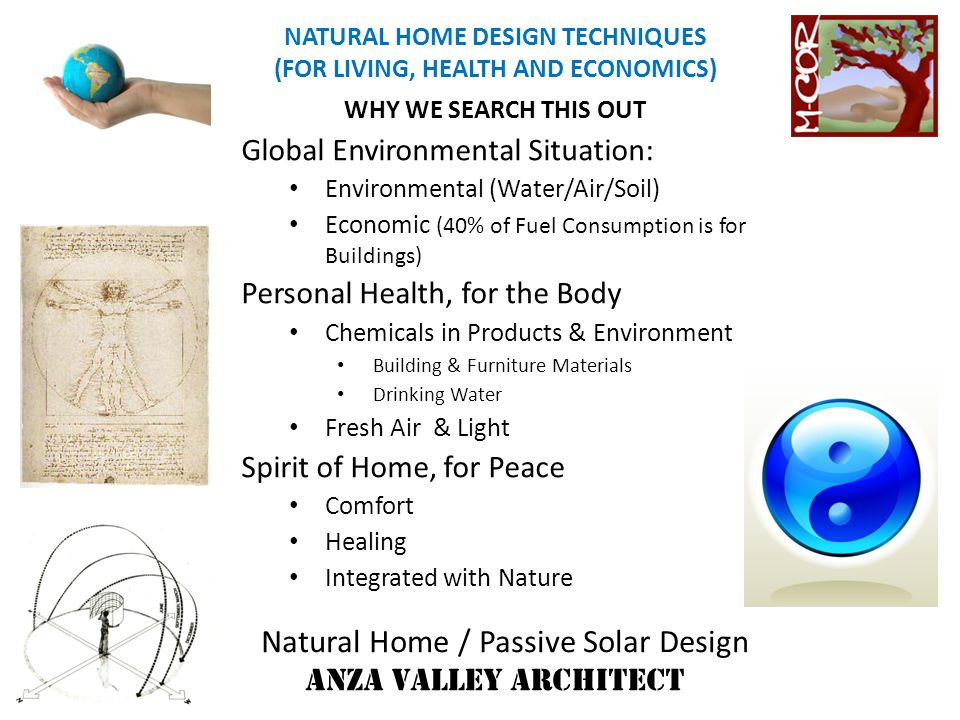 Natural Home / Passive Solar Design ANZA VALLEY ARCHITECT NATURAL HOME DESIGN TECHNIQUES (FOR LIVING, HEALTH AND ECONOMICS) COOL HOME for Hot Climate THERMAL STACK EFFECT Induces Ventilation & Cooling