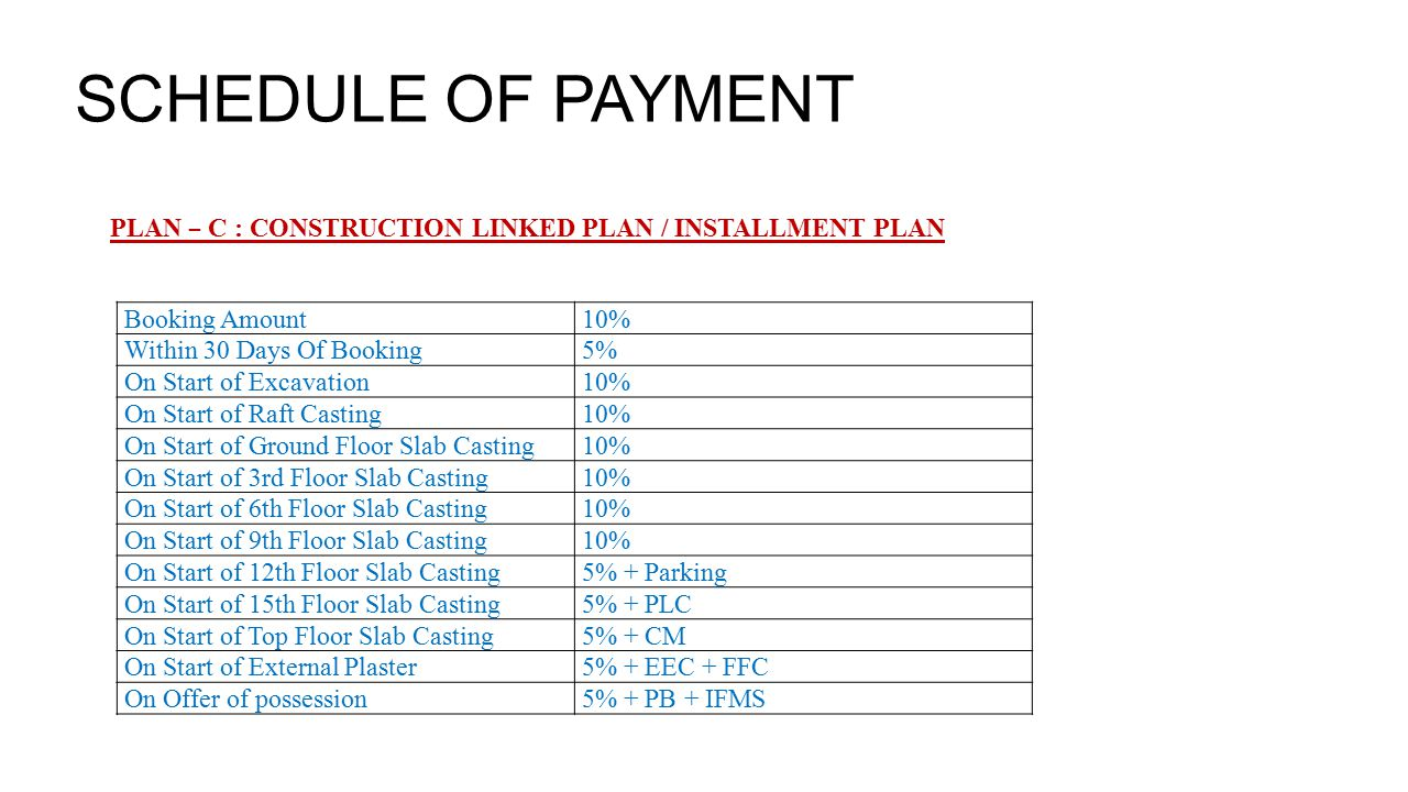 SCHEDULE OF PAYMENT PLAN – C : CONSTRUCTION LINKED PLAN / INSTALLMENT PLAN Booking Amount10% Within 30 Days Of Booking5% On Start of Excavation10% On Start of Raft Casting10% On Start of Ground Floor Slab Casting10% On Start of 3rd Floor Slab Casting10% On Start of 6th Floor Slab Casting10% On Start of 9th Floor Slab Casting10% On Start of 12th Floor Slab Casting5% + Parking On Start of 15th Floor Slab Casting5% + PLC On Start of Top Floor Slab Casting5% + CM On Start of External Plaster5% + EEC + FFC On Offer of possession5% + PB + IFMS
