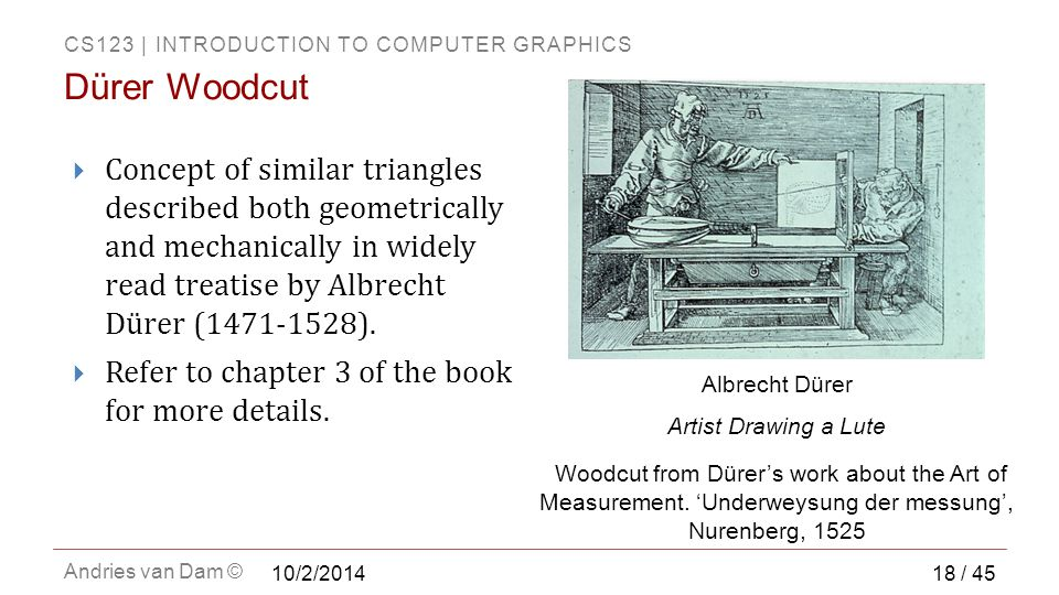 CS123 | INTRODUCTION TO COMPUTER GRAPHICS Andries van Dam ©  Concept of similar triangles described both geometrically and mechanically in widely read treatise by Albrecht Dürer (1471-1528).