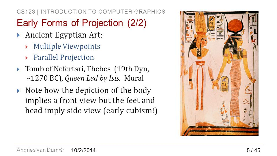 CS123 | INTRODUCTION TO COMPUTER GRAPHICS Andries van Dam ©  Ancient Egyptian Art:  Multiple Viewpoints  Parallel Projection  Tomb of Nefertari, Thebes (19th Dyn, ~1270 BC), Queen Led by Isis.