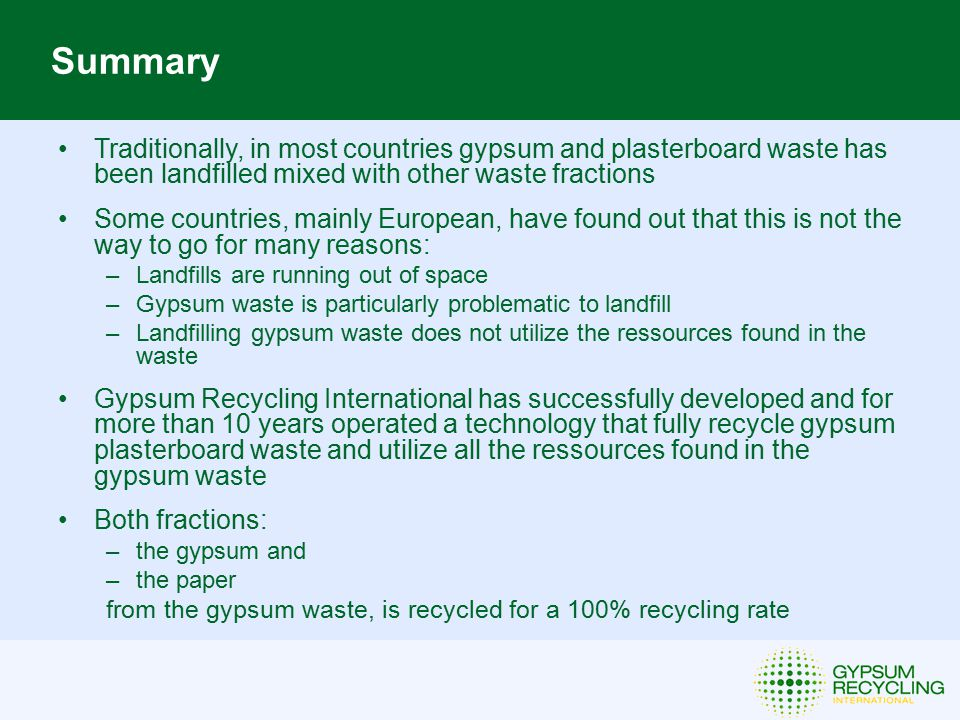 New Gypsum Paper Recycling System