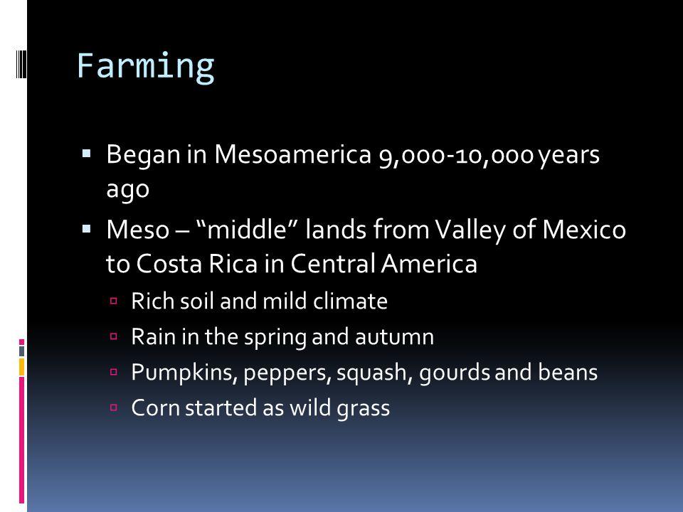 Mesoamerican Civilizations  Corn = stop wandering = more complex societies  1500 BC, first of several ancient civilizations  Olmec  Toltec  Maya  Moche  Inca