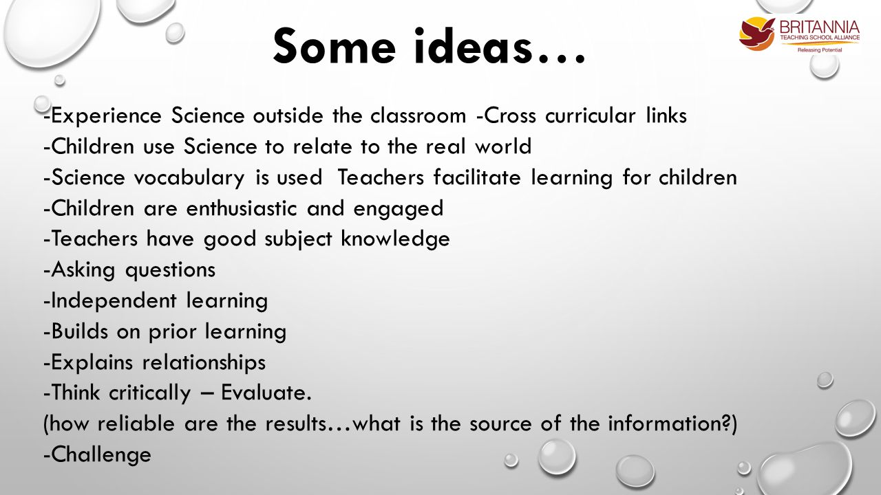 -Experience Science outside the classroom -Cross curricular links -Children use Science to relate to the real world -Science vocabulary is used Teachers facilitate learning for children -Children are enthusiastic and engaged -Teachers have good subject knowledge -Asking questions -Independent learning -Builds on prior learning -Explains relationships -Think critically – Evaluate.