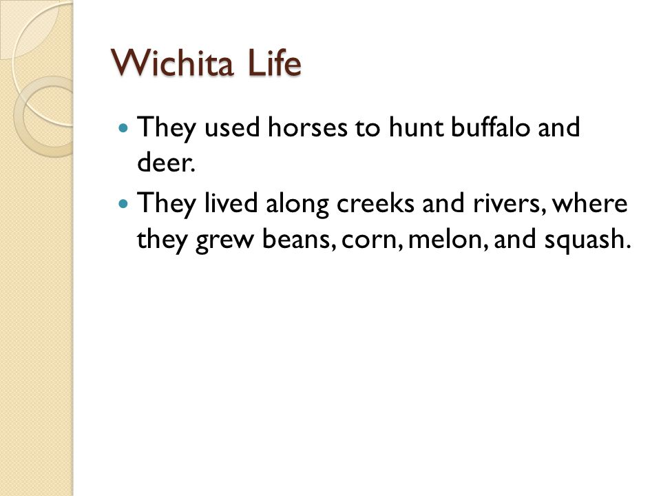 Wichita Life They used horses to hunt buffalo and deer.