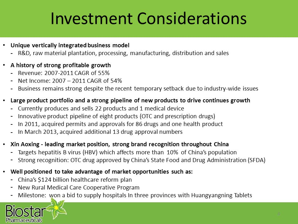 Investment Considerations Unique vertically integrated business model - R&D, raw material plantation, processing, manufacturing, distribution and sale