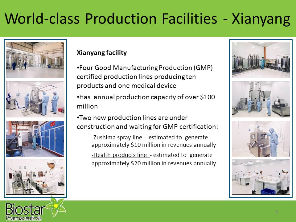 World-class Production Facilities-Xianyang Xianyang facility Four Good Manufacturing Production (GMP) certified production lines producing ten product