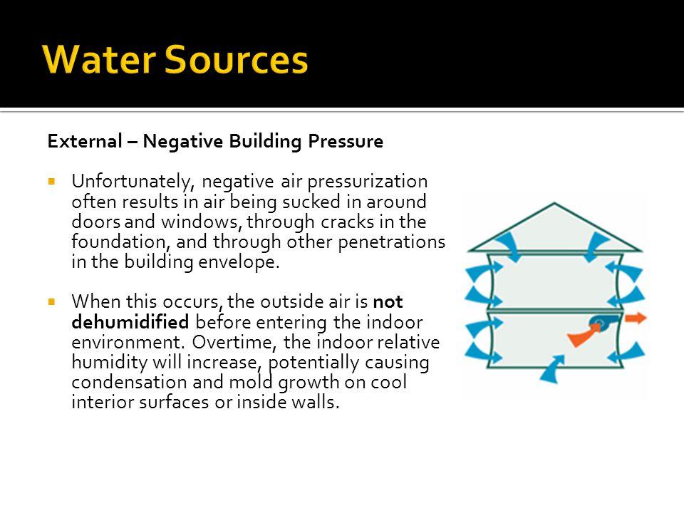 External – Negative Building Pressure  Unfortunately, negative air pressurization often results in air being sucked in around doors and windows, thro