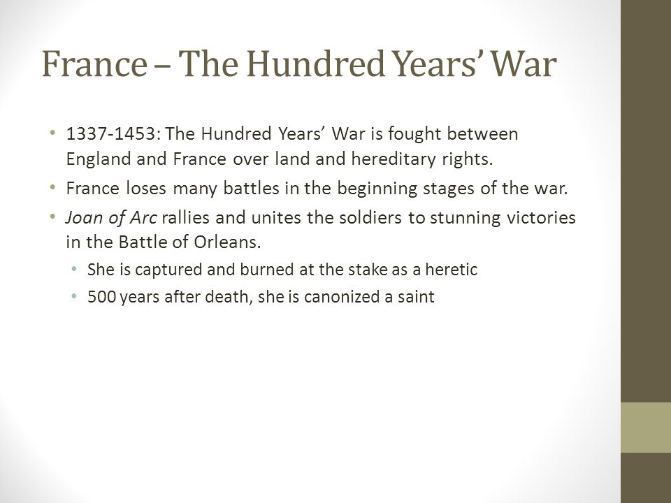 France – The Hundred Years' War 1337-1453: The Hundred Years' War is fought between England and France over land and hereditary rights.