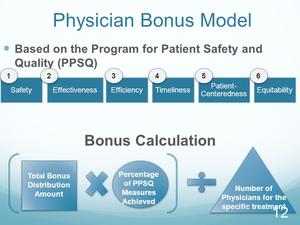Physician Bonus Model Based on the Program for Patient Safety and Quality (PPSQ) Bonus Calculation SafetyEffectivenessEfficiencyTimeliness Patient- Centeredness Equitability 123456 Percentage of PPSQ Measures Achieved Number of Physicians for the specific treatment Total Bonus Distribution Amount 12