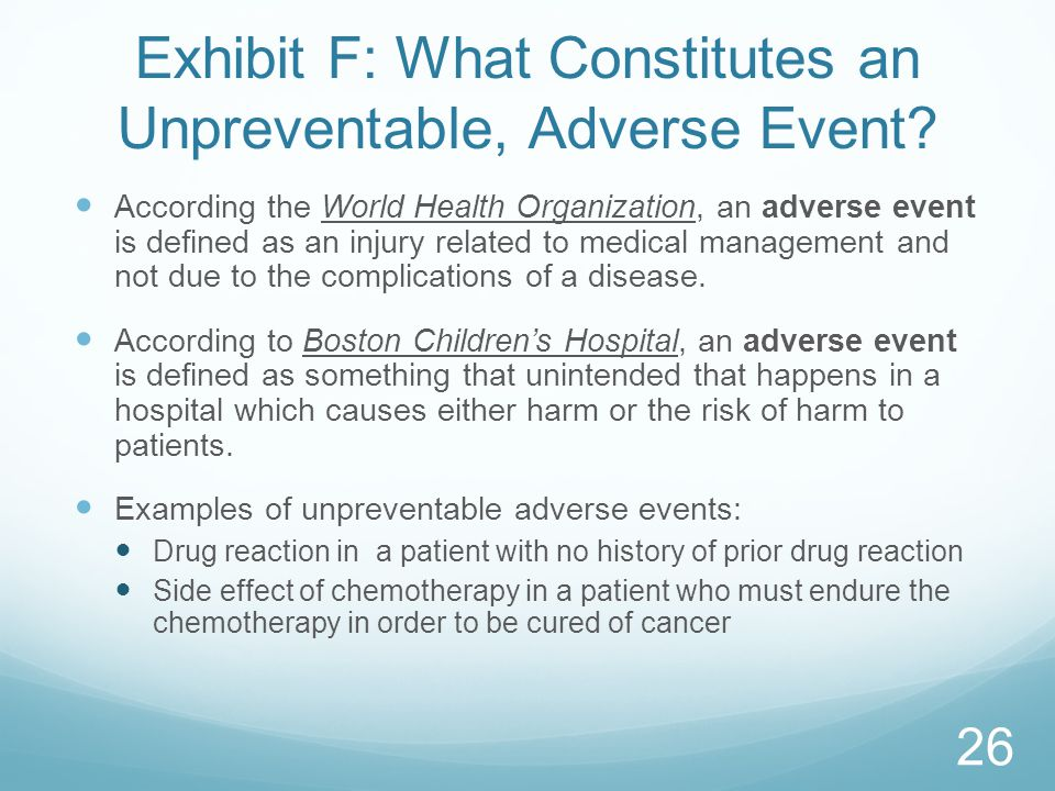 Exhibit F: What Constitutes an Unpreventable, Adverse Event.