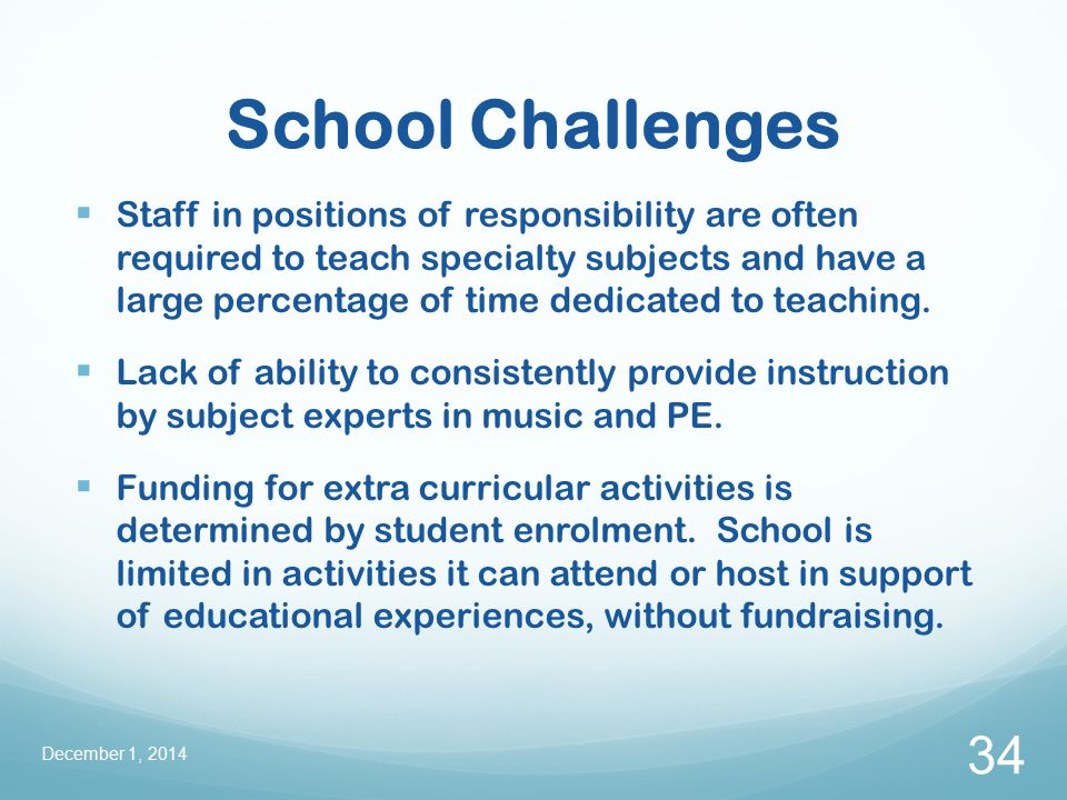 School Challenges  Staff in positions of responsibility are often required to teach specialty subjects and have a large percentage of time dedicated to teaching.
