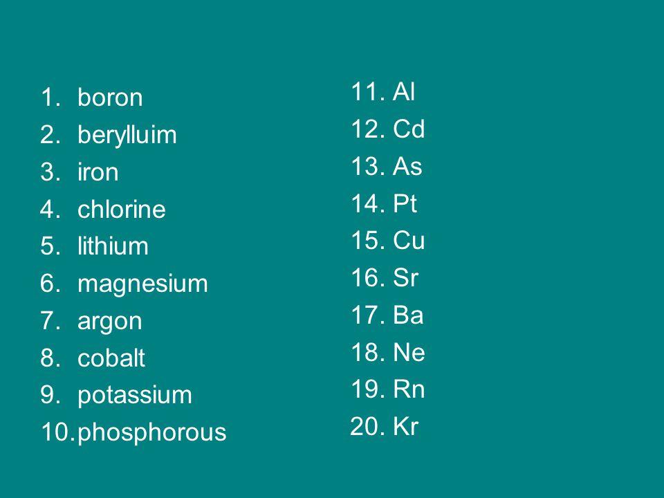 1.boron 2.berylluim 3.iron 4.chlorine 5.lithium 6.magnesium 7.argon 8.cobalt 9.potassium 10.phosphorous 11.