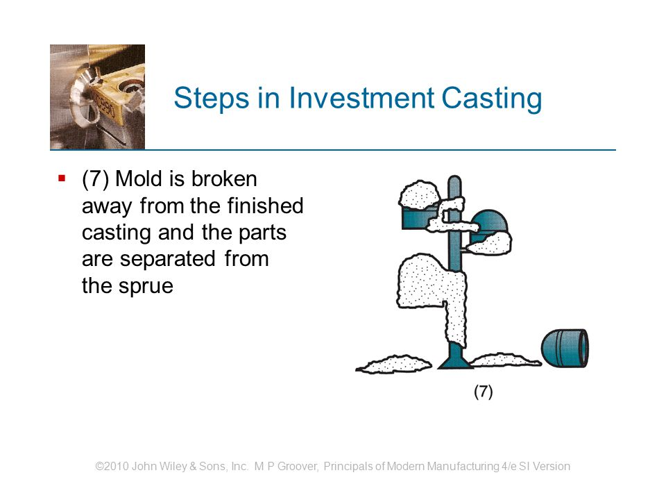©2010 John Wiley & Sons, Inc. M P Groover, Principals of Modern Manufacturing 4/e SI Version Steps in Investment Casting  (7) Mold is broken away fro