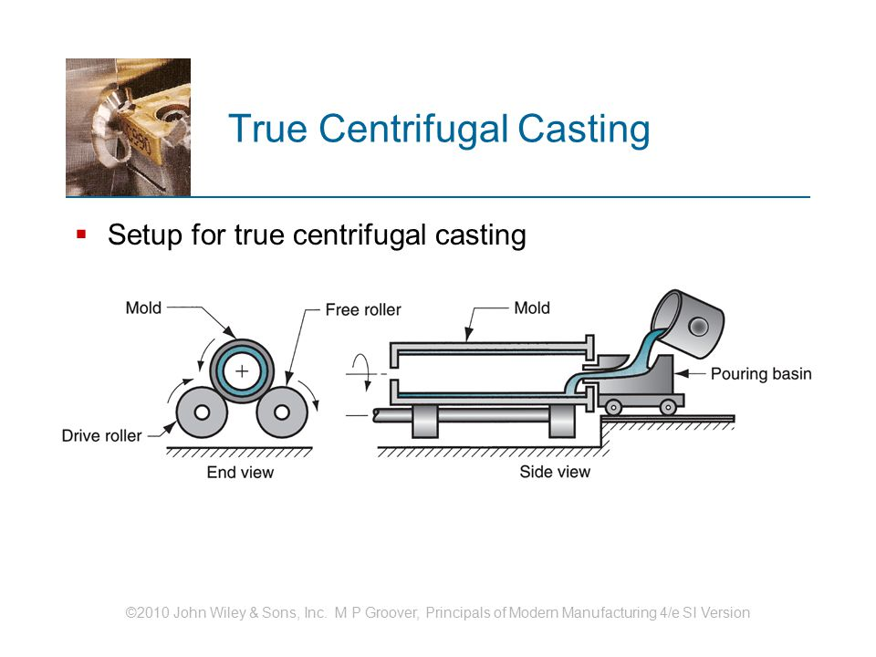 ©2010 John Wiley & Sons, Inc. M P Groover, Principals of Modern Manufacturing 4/e SI Version True Centrifugal Casting  Setup for true centrifugal cas
