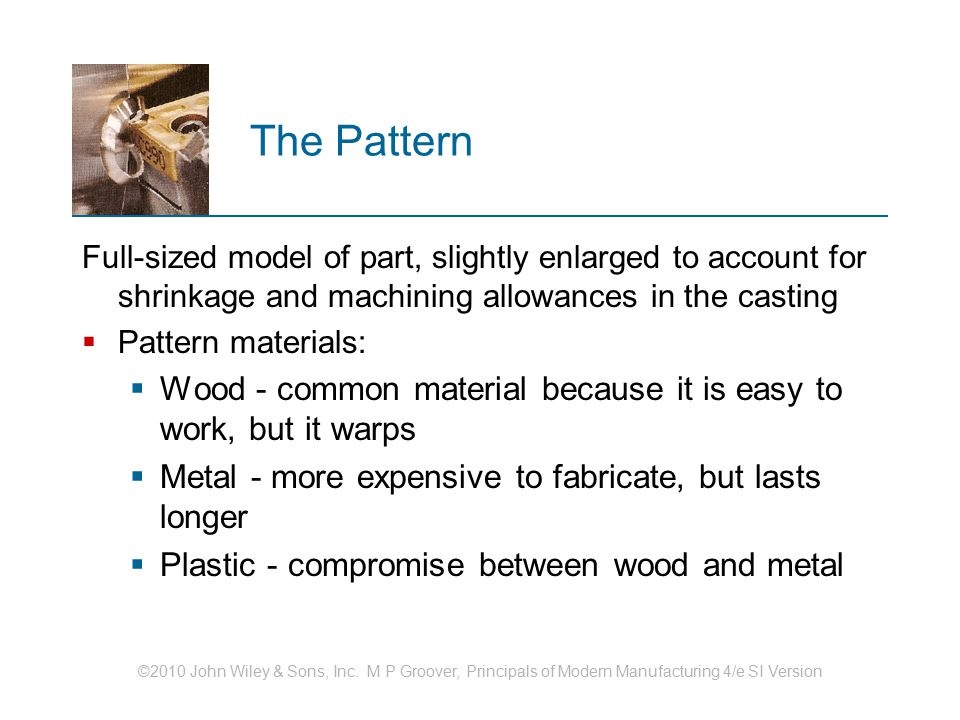 ©2010 John Wiley & Sons, Inc. M P Groover, Principals of Modern Manufacturing 4/e SI Version The Pattern Full ‑ sized model of part, slightly enlarged