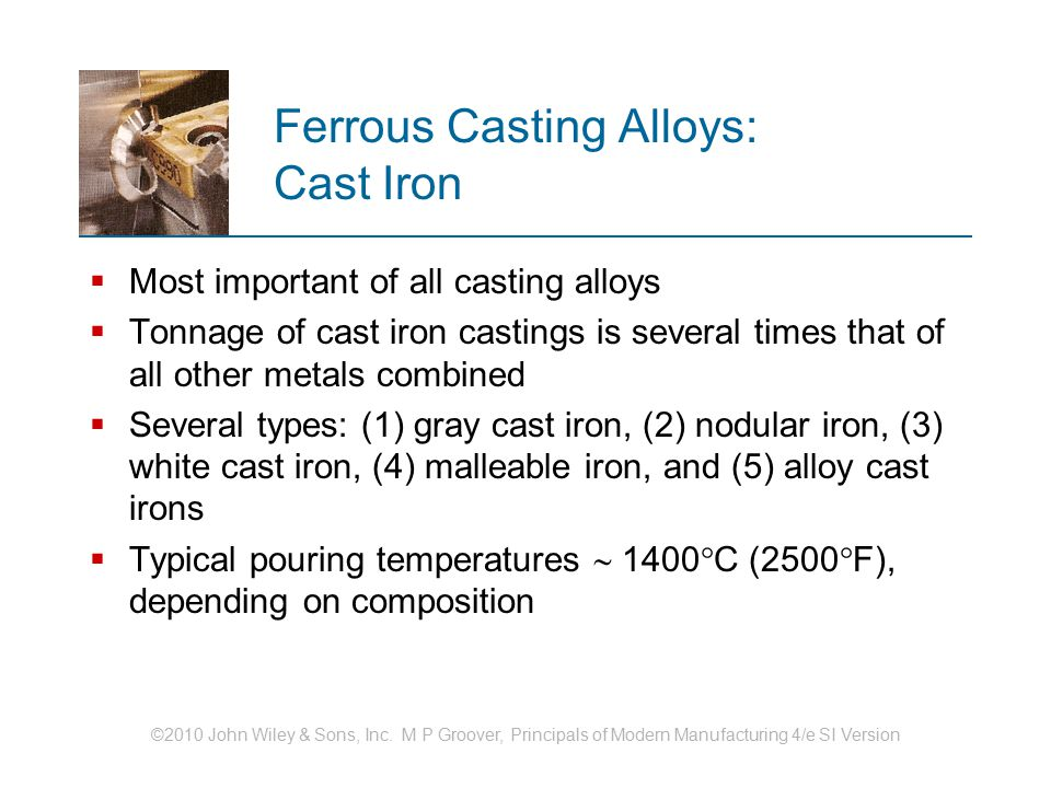 ©2010 John Wiley & Sons, Inc. M P Groover, Principals of Modern Manufacturing 4/e SI Version Ferrous Casting Alloys: Cast Iron  Most important of all