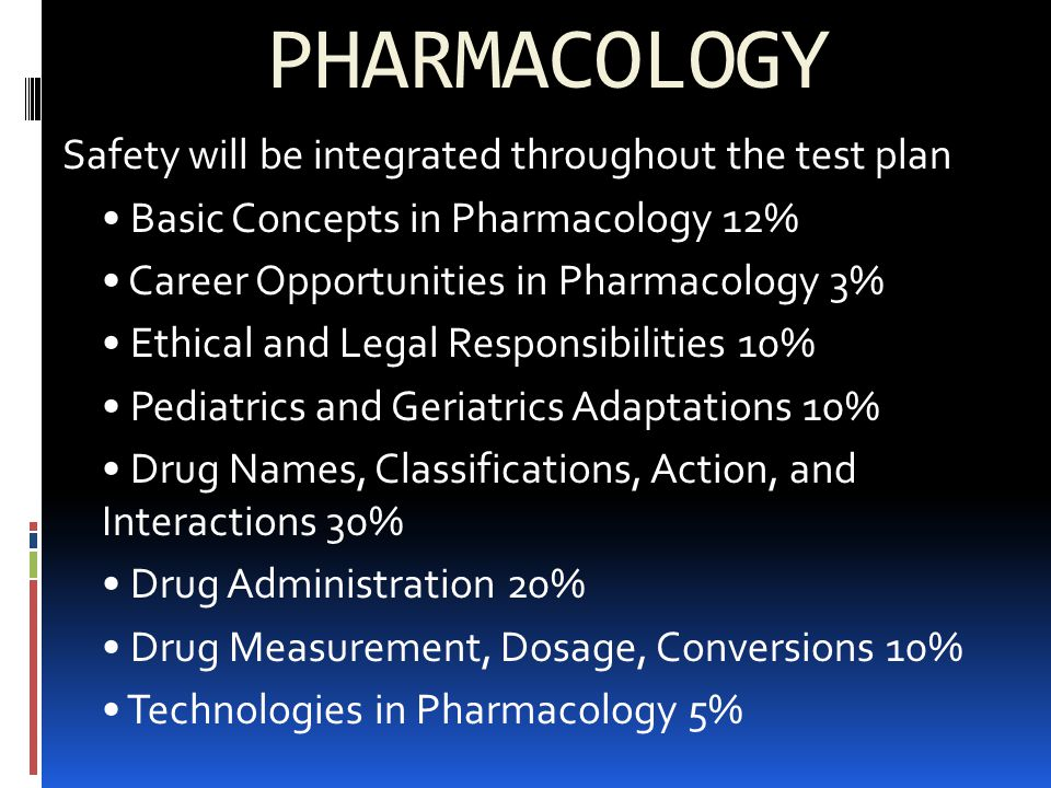 PHARMACOLOGY Safety will be integrated throughout the test plan Basic Concepts in Pharmacology 12% Career Opportunities in Pharmacology 3% Ethical and Legal Responsibilities 10% Pediatrics and Geriatrics Adaptations 10% Drug Names, Classifications, Action, and Interactions 30% Drug Administration 20% Drug Measurement, Dosage, Conversions 10% Technologies in Pharmacology 5%