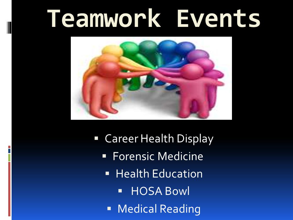 Teamwork Events  Career Health Display  Forensic Medicine  Health Education  HOSA Bowl  Medical Reading
