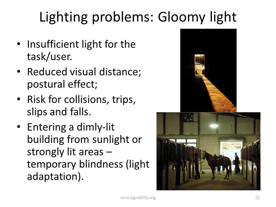 Lighting problems: Gloomy light Insufficient light for the task/user.
