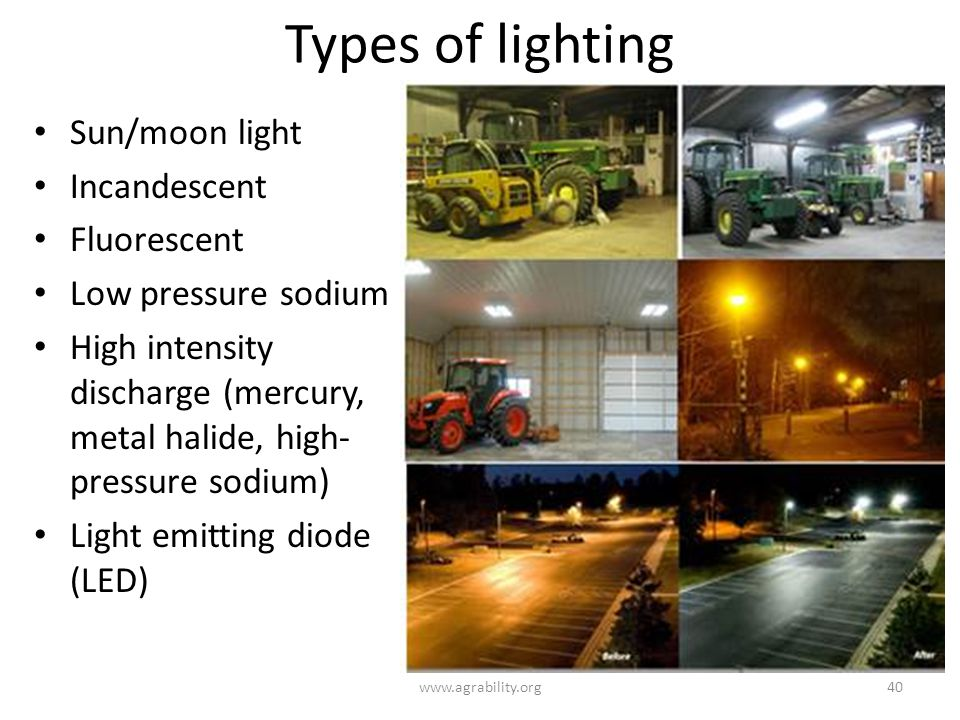 Types of lighting www.agrability.org40 Sun/moon light Incandescent Fluorescent Low pressure sodium High intensity discharge (mercury, metal halide, high- pressure sodium) Light emitting diode (LED)