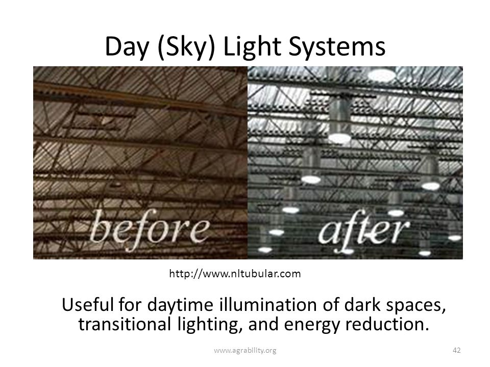 Day (Sky) Light Systems Useful for daytime illumination of dark spaces, transitional lighting, and energy reduction.