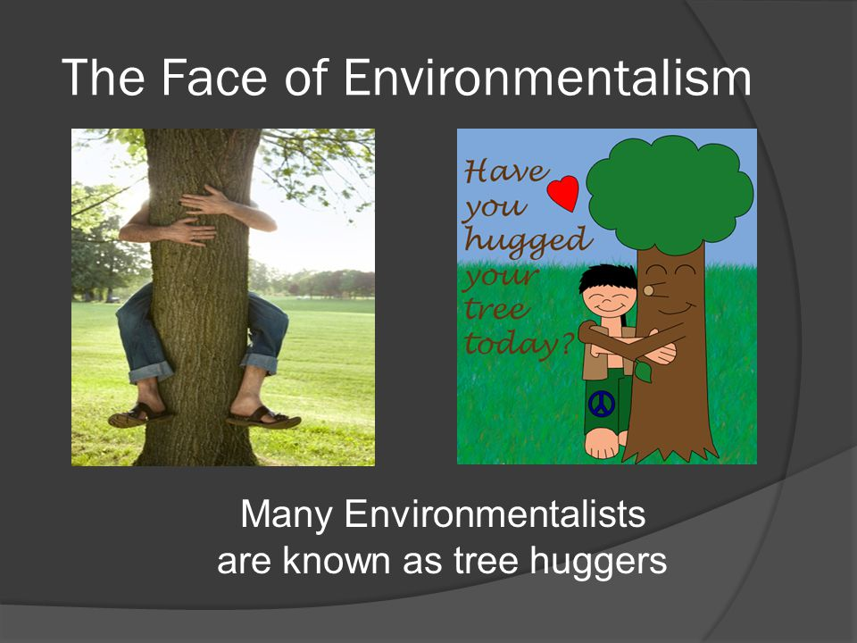 The Face of Environmentalism Many Environmentalists are known as tree huggers