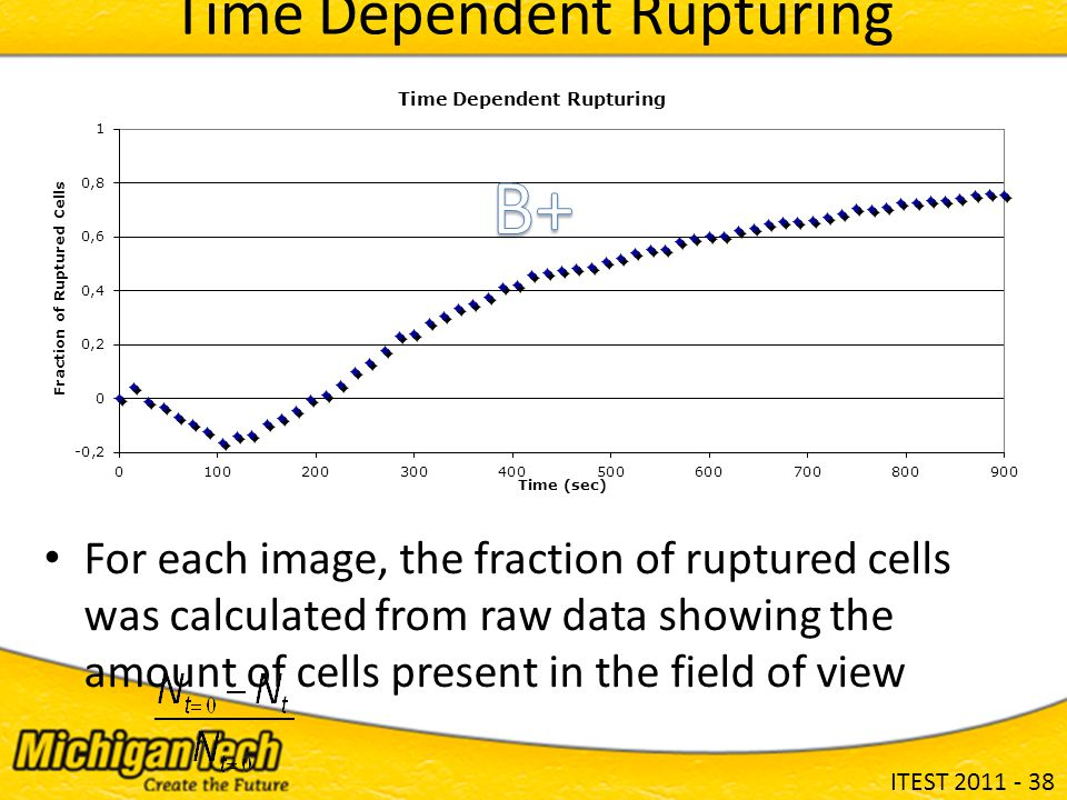 ITEST 2011 - 38 For each image, the fraction of ruptured cells was calculated from raw data showing the amount of cells present in the field of view Time Dependent Rupturing
