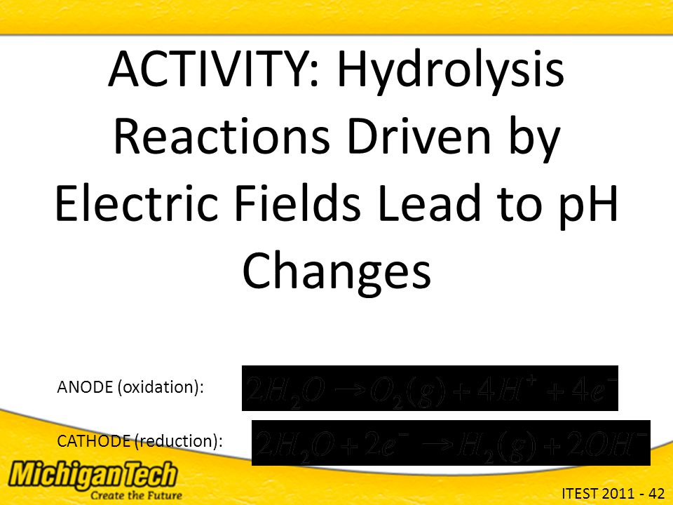 ITEST 2011 - 42 ACTIVITY: Hydrolysis Reactions Driven by Electric Fields Lead to pH Changes ANODE (oxidation): CATHODE (reduction):