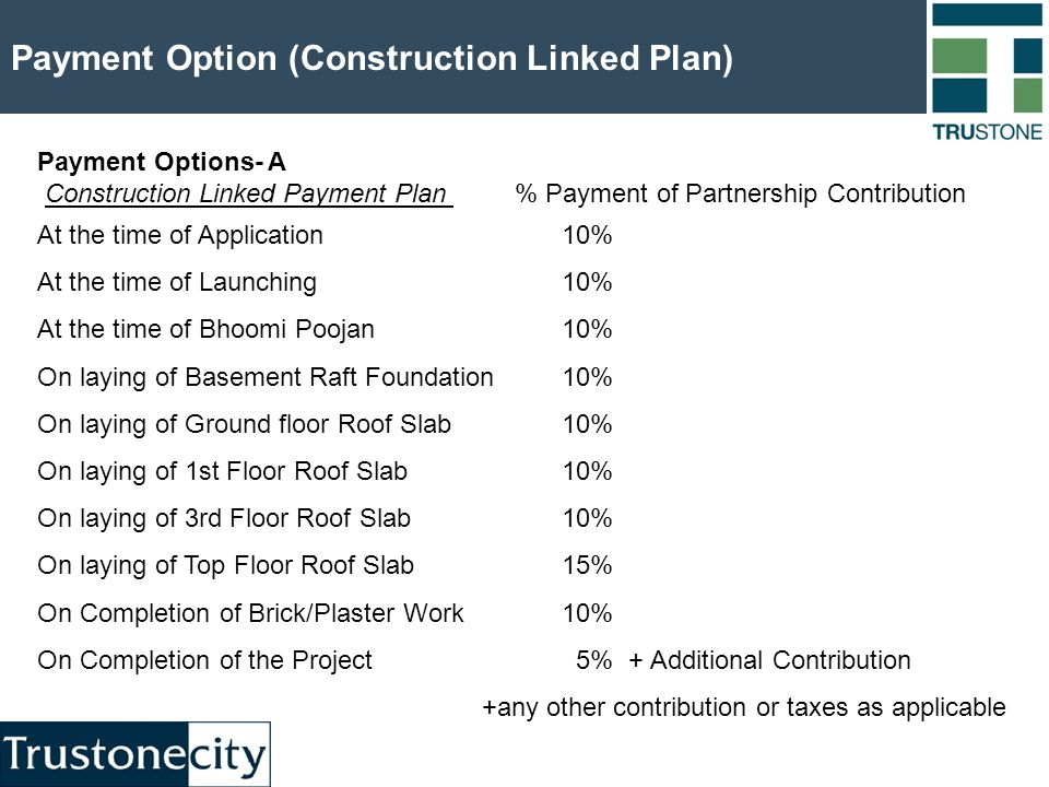 Payment Option (Construction Linked Plan) Payment Options- A Construction Linked Payment Plan % Payment of Partnership Contribution At the time of Application 10% At the time of Launching 10% At the time of Bhoomi Poojan10% On laying of Basement Raft Foundation10% On laying of Ground floor Roof Slab 10% On laying of 1st Floor Roof Slab10% On laying of 3rd Floor Roof Slab10% On laying of Top Floor Roof Slab15% On Completion of Brick/Plaster Work10% On Completion of the Project 5% + Additional Contribution +any other contribution or taxes as applicable