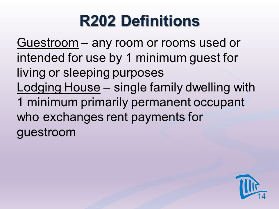R202 Definitions Guestroom – any room or rooms used or intended for use by 1 minimum guest for living or sleeping purposes Lodging House – single fami