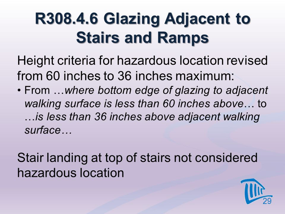 R308.4.6 Glazing Adjacent to Stairs and Ramps Height criteria for hazardous location revised from 60 inches to 36 inches maximum: From …where bottom e